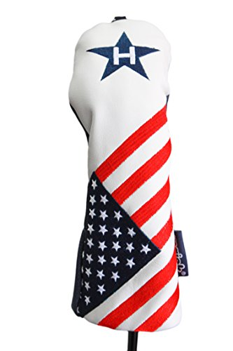 - USA #3 Hybrid Patriot Golf Head Cover Limited Edition Vintage Retro Patriotic Red White Blue American Flag Headcover