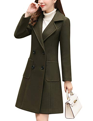 Tanming Women's Notch Lapel Double Breasted Wool Blend Pea Coat Trench Coat (Army Green, Small)