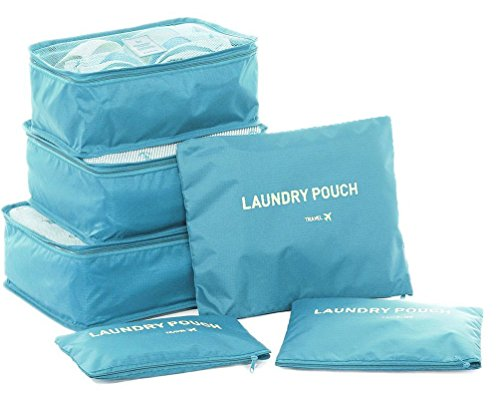 Waterproof 5-Piece Packing Bags (Sky Blue) - 5
