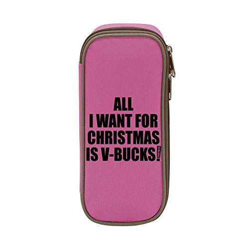 Kim Mittelstaedt All I Want for Christmas is V-Bucks Custom Pencil Case - Big Capacity Double Zipper Multifunctional Stationery Pink Bag for Girls Boys