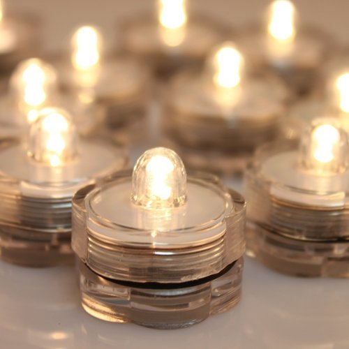 - AGPTEK 24x LED Submersible Waterproof Wedding/Party/Floral Decoration Tea Vase Battery Light Candles-Warm White