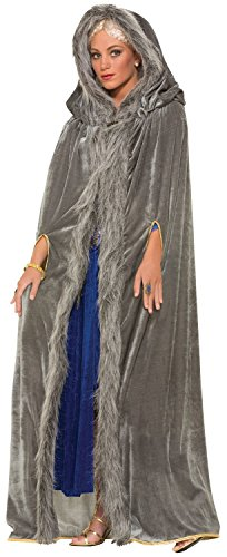 Mens Ladies Silver Grey Long Velvet Hooded Fur Trimmed Medieval Fancy Dress Costume Outfit Cape Shawl Cloak (Grey)