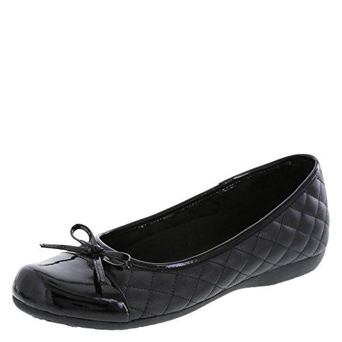 safeTstep Slip Resistant Women's Black Women's Sasha Quilt Bow Flat 6 (Ballet Slip Flats)