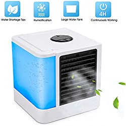 ROSKY Personal Air Conditioner Fan, 3 in 1 Air Personal Space Cooler Mini Air Purifier Humidifier with 7 Colors LED Lights, Small Desktop Fan Quiet Personal Table Fan Evaporative Air Circulator Cooler