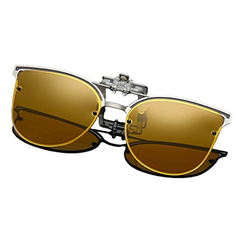 metálica Gafas de up Clip Polarized montura Gafas con Eye de sol on Amarillo Flip Huicai Cat sol 4fZyq4v