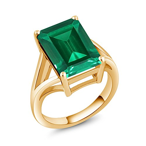 Gem Stone King 6.50 Ct Green Simulated Emerald 18K Yellow Gold Plated Silver Women's Solitaire Ring (Available in size 5, 6, 7, 8, 9) ()
