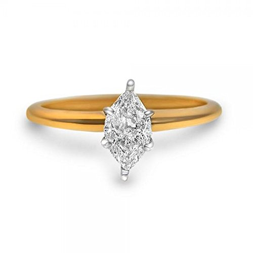 Ladies Preset Diamond Solitaire Engagement Ring with Unique Marquise Shape 14k Yellow Gold (0.62ct) ()