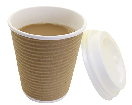 - 50 Count Brown 8oz Disposable Hot Coffee Ripple Paper Cups with Cappuccino Lids