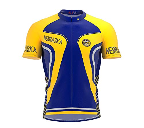 ScudoPro Nebraska Bike Short Sleeve Cycling Jersey for Men - Size L - Nebraska Cycling Jersey