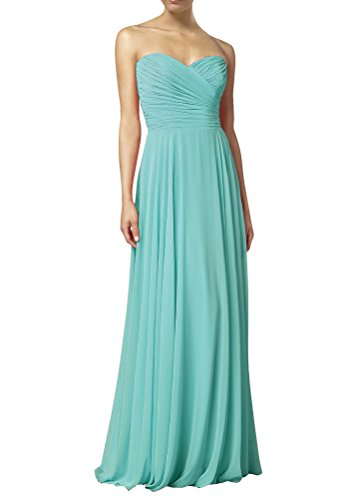 Huafeiwude Women's Sweetheart Chiffon Long Evening Dress Bridesmaid Prom Dress Ice Blue (Designer Bridesmaid Dresses)
