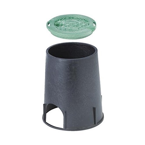 NDS 107BC Standard Series Round Valve Box Overlapping Cover-ICV, 6-Inch, Black/Green (Covers Valve Water)