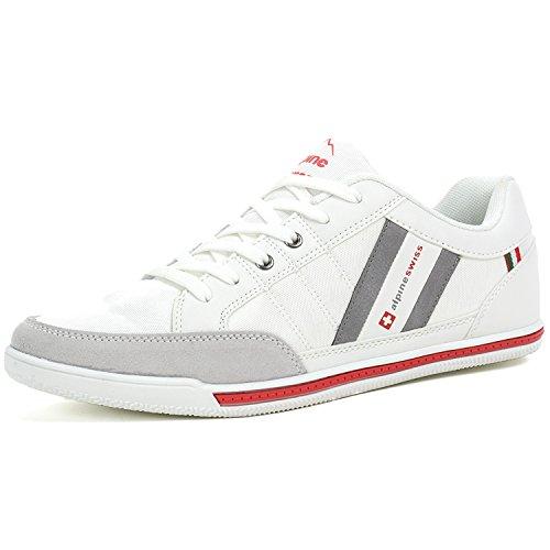 alpine swiss Mens Stefan White Suede Trim Retro Fashion Sneakers 10 M US