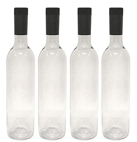 Plastic Wine Bottles & Screw Caps, Clear, 750ml - Pack of 4
