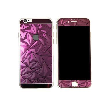 Iphone 6 4 7Inch Premium Hd Mirror Effect 3D Triangle Diamond Electroplated Tempered Glass Screen Protector For Apple Iphone 6 4 7Inch  Anti Scratch Bubble Free Anti Fingerprint  Purple