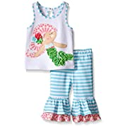 Mud Pie Baby Girl Two Piece Playwear Set Sleeveless, Multi, 9-12 Months