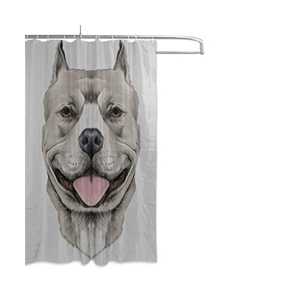 """LIANPEN American Pit Bull Terrier Toile Shower Curtains for Bathroom Durable Waterproof with 12 Hooks Shower Curtain Fabric for Bathtub Showers 60""""x72"""" Machine Washable 2"""