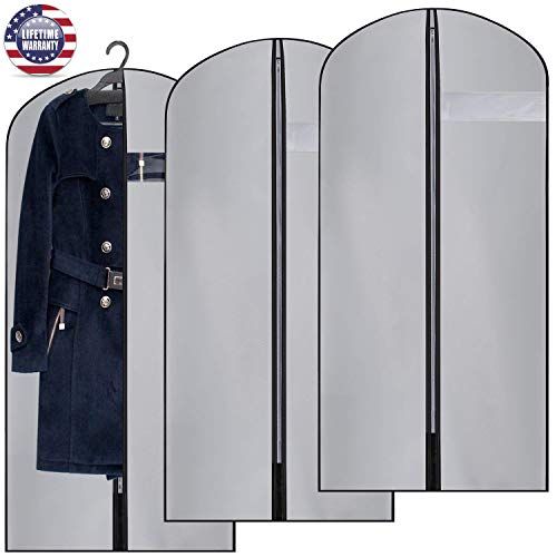 Hanging Garment Bag Grey Long Suit Dust Cover PEVA Material Moth-Proof (Set of 3) with Clear PVC Window for Off Season Changing Clothes Dress Gown Storage(127cm)
