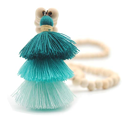 Bohemian Long Necklace Pendant Tiered Layered Tassel Thread Fringe Beads Chain for Women Girls Green
