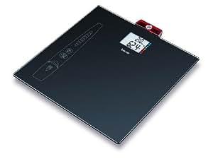 Beurer GS-49 BMI - Báscula cristal con medición peso y altura, cálculo BMI, 150 Kg/100 gr, color negro