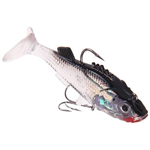 adsro señuelos de silicona Gusano de pesca cebos Bass Trucha Natación Shad anzuelo Manivela anzuelo