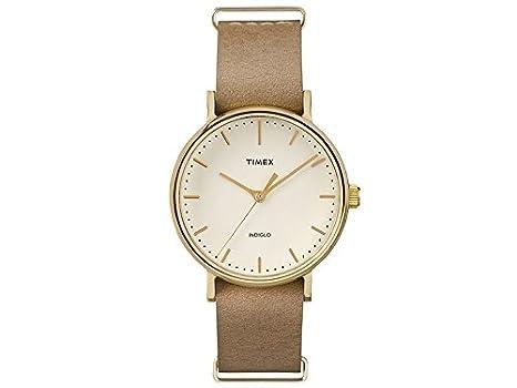 64a30fd53307 Timex tw2p98400 Unisex Fairfield chapado en oro correa de piel color marrón  reloj  Amazon.es  Relojes
