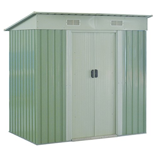 Goplus Garden Storage Shed Galvanized Steel Outdoor Tool House 4 x 6.2 Ft Heavy Duty W/ Sliding Door (Green) by Goplus