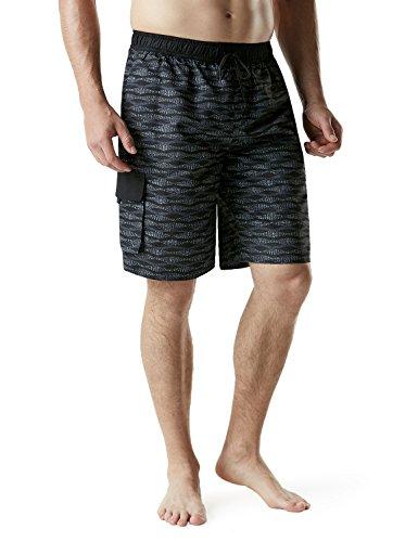 TSLA Men's 11 Inches Swimtrunks Quick Dry Water Beach, Graphic(msb03) - Wave Black, X-Small