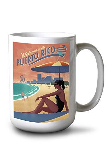 (Lantern Press Puerto Rico - Beach Scene - Lithograph 99628 (15oz White Ceramic Mug))
