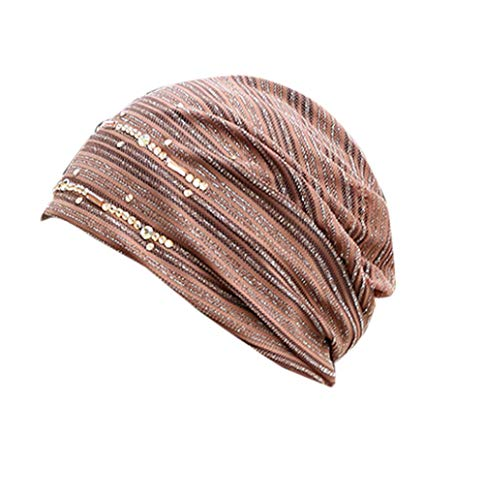 (Londony Hats & Caps,Women's Ruffle Rhinestone Chemo Turban Headband Scarf Beanie Cap Hat for Cancer Patient)