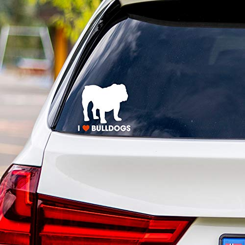 I Love Bulldogs Vinyl Car Sticker Decal ()