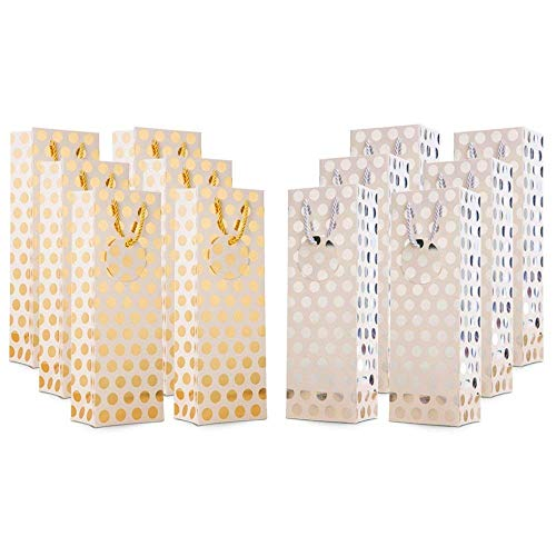UNIQOOO 12Pcs Premium Metallic Gold & Silver Polka Dot Wine Gift Bag Bulk, Message Tag,Rope Handle,100% Recyclable Paper Bottle Carrier Tote Bag- Wedding,Birthday,Anniversary Large 14x4.75x3.5 Inch