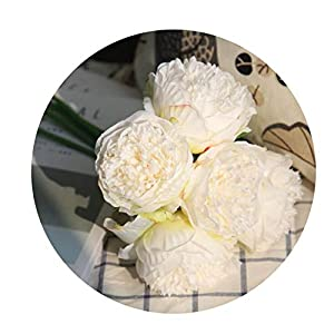 Artificial Flower Peony Bridal Bouquet Flower Christmas Wedding Party Peony Flower,White 113