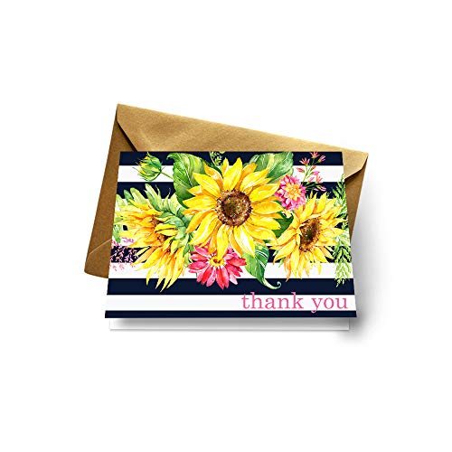 Sunflower Thank You Cards (Pack of 20) Wedding, Baby Shower, Party Stationery