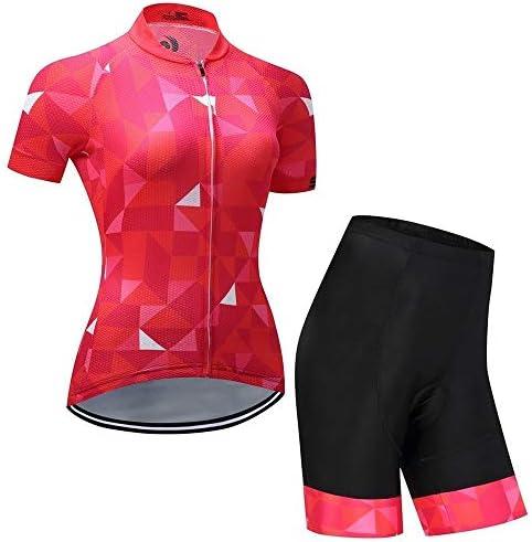女性用自転車半袖通気性ウィッキング屋外サイクリングスーツ