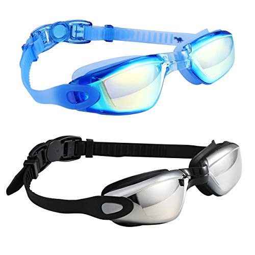 Spinosaurus Swim Goggles Swimming Goggles, Pack of 2 Professional Anti Fog No Leaking UV Protection Swim Goggles for Women Men Adult Youth (Black Silver Mirrored Lenses & Blue Blue Mirrored Lenses)