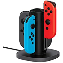 Joy Con Charging Dock for Nintendo Switch by TalkWorks   Docking Station Charges up to 4 Joy-Con Controllers Simultaneously - Controllers NOT Included (Black)