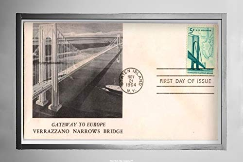 New York Map Company  Non Postcard First Day of Issue Envelope Cover with 'Gateway to Europe, Verrazzano Narrows Bridge', Picture of Bridge on Front, Postcard|Size: 7x12|Ready to Frame ()