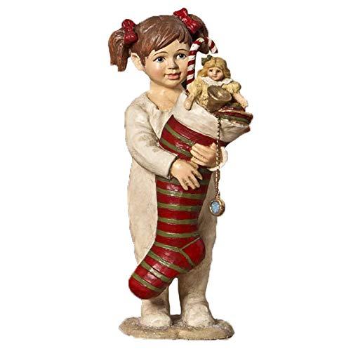 Bethany Lowe Girl Holding Stocking Christmas Figurine