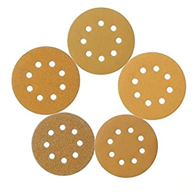 Speedwox GM-P58-5 Gold-Cut 5-Inch 8-Hole Dustless Hook-and-Loop Sanding Disks,20 Each of 5 Grits