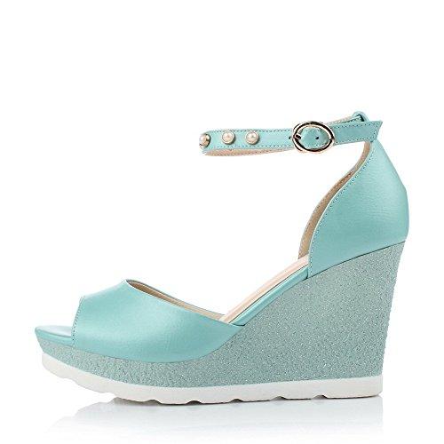 AllhqFashion Womens Buckle High-Heels PU Solid Sandals Blue zCCWNg9Pi