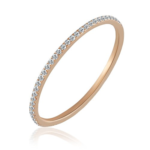 Balluccitoosi Eternity Ring -14K Rose Gold Diamond Band Stackable Matching Band - stacking ring stackable diamond engagement rings-0.20 tcw Diamond Ladies Dainty Anniversary Wedding Band-Size 6 by Ballucci&Toosi Goldsmith