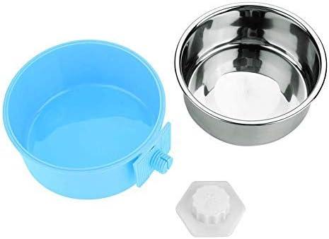 Cuencos colgantes mascotas, acero inoxidable PP, alimento perros, cuenco de agua con plato extraíble Herramienta de alimentación fácil de colgar para perros, gatos, conejos, pájaros, jaulas (Azul)