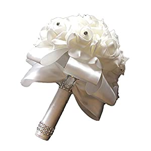 ONLY-FOR-ME-1 Handmade Classic White Bridal Bridesmaid Flower Wedding Bouquet Artificial Flower Rose Ribbon Crystal Bouquets,Silver 65