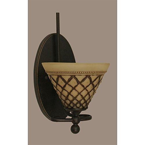 """Toltec Capri 1 Light Wall Sconce in Dark Granite with 7"""" Chocolate Icing Glass"""