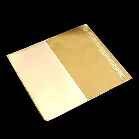 100Pcs Imitation Gold Foil Sheets Copper Leaf Sheets Transfer Leaf Sheets Gold Leaf Booklet 16cm16c