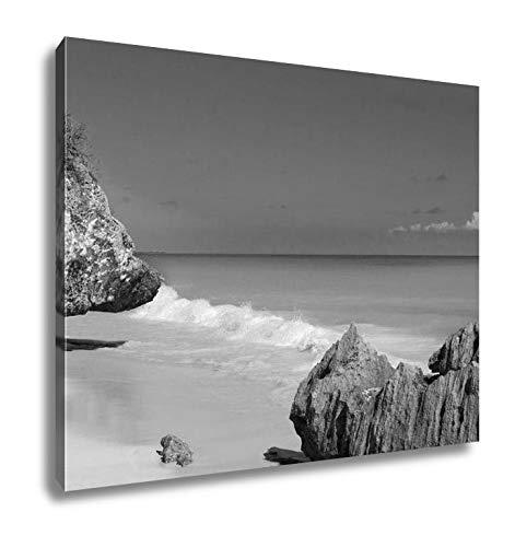 Ashley Canvas Tulum Beach Near Cancun Turquoise Caribbean, Home Office, Ready to Hang, Black/White 20x25, AG5947555