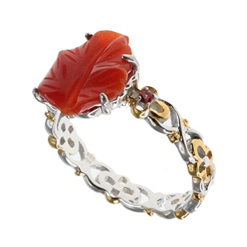 (Michael Valitutti Palladium Silver Red Agate Leaf and Orange Sapphire Cocktail Ring)