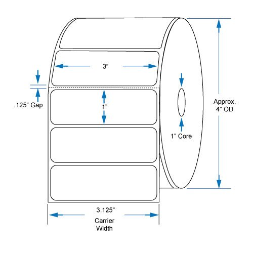 800530-105 Compatible KENCO Brand 3 inch x 1 inch with perf Direct Thermal Labels to fit Eltron or Zebra Printers. 1 in. Core, 1,380 Labels Per Roll, 12 Rolls Per Case by Kenco