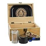 Infinite Depths - Inhale/exhale Stash Box Combo   Premium - 4 3/8' Full Size Titanium 4 Part Herb Grinder - Glass stash jar   Wood Bamboo Box - Smell Proof and Airtight Meditation design   Gift Set