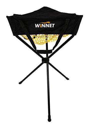 Winnet Baseball/Softball/Golf Ball Portable Zippered Ball Caddy, Removable Multi-Sports Batting Practice Ball Holder, Polyester Knotless Net Basket by Winnet